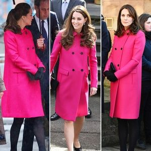 Hot Pink Wool Trench